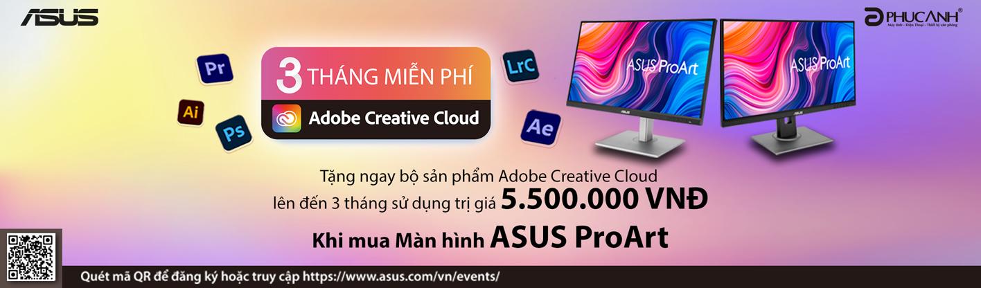 Sắm màn hình Asus - Nhận ngay bộ quà Adobe Creative Cloud