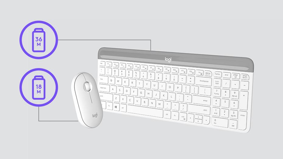 Bộ bàn phím chuột không dây Logitech MK470 USB-Wireless (Màu trắng)