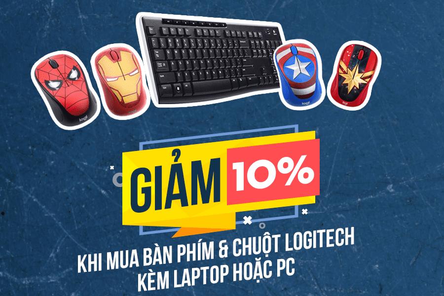 Giảm 10% khi mua bàn phím chuột Logitech kèm laptop hoặc PC