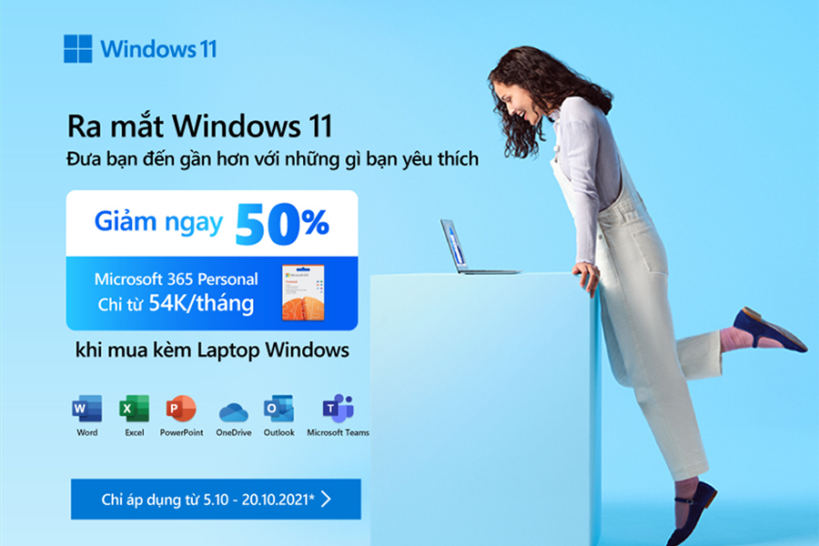 Giảm giá 50% Microsoft 365 personal khi mua kèm Laptop Windows