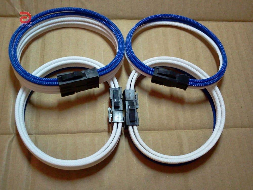 Dây nguồn bọc lưới cho VGA 8 pin nối dài (multi color)