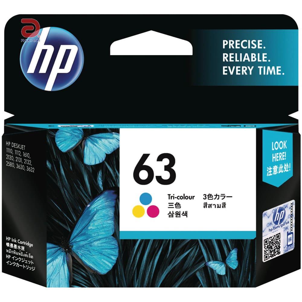Mực hộp may in phun HP 63 Tri-color  F6U61AA Dùng cho máy  HP DeskJet 2132