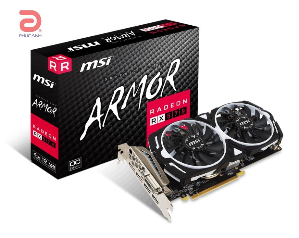 VGA MSI RX 570 ARMOR 4G OC (AMD Radeon/ 4Gb/ DDR5/ 256 Bits)