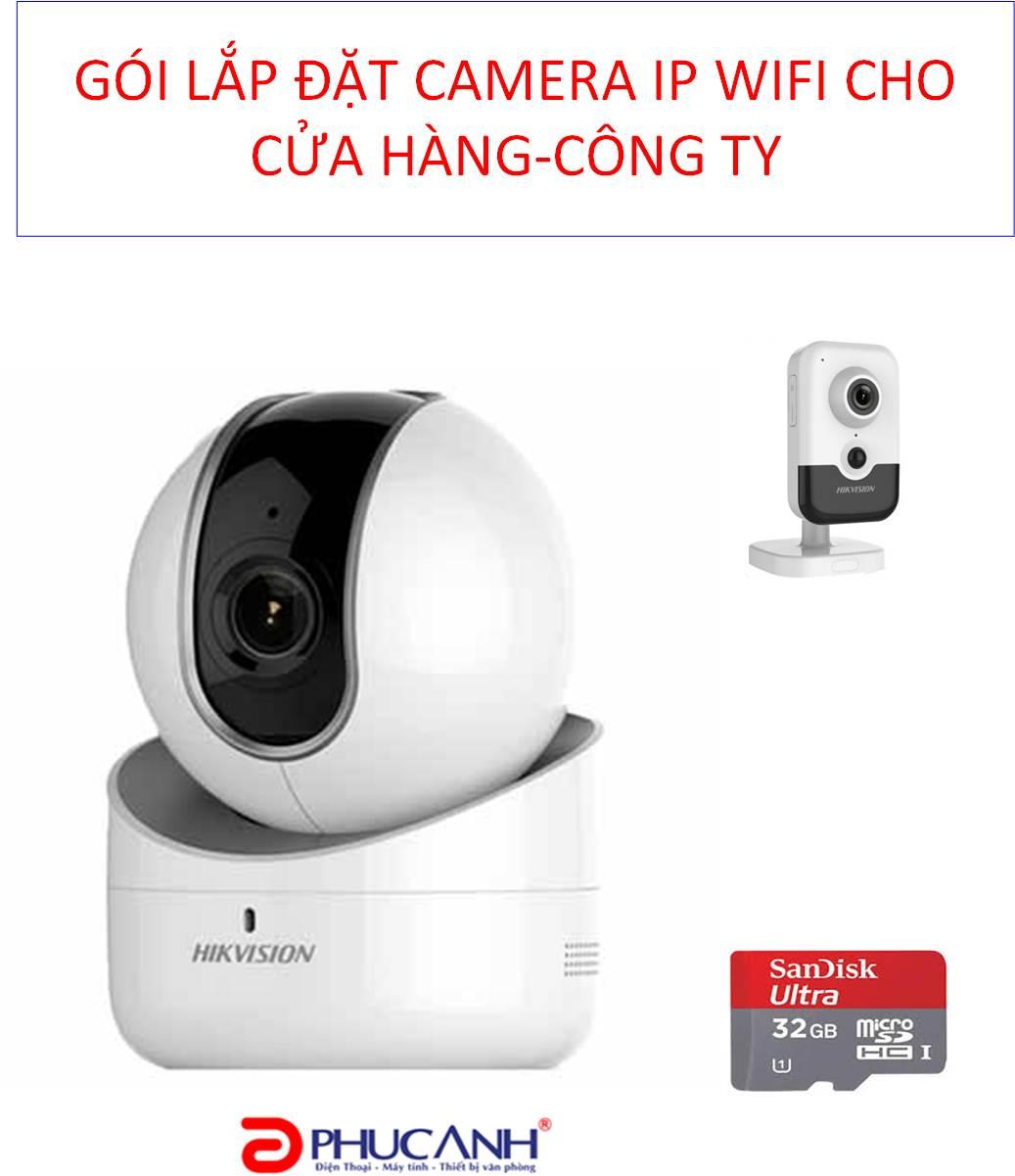 Trọn Gói lắp đặt 02 Camera  IP Wifi cho Cửa hàng-Công ty- Doanh nghiệp