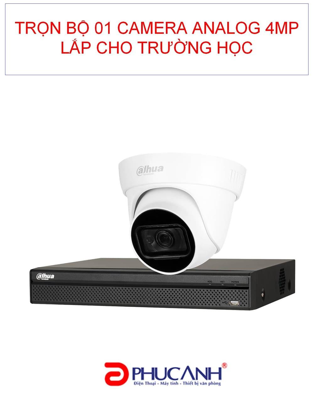 Trọn gói lắp đặt 01 camera analog 4.0 MP cho trường học