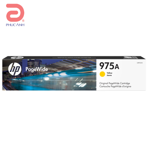 Mực hộp máy in phun HP 975A (L0R94AA) Yellow - Dùng cho máy in HP PageWide 352dw, MFP 377dw, Pro 452dn Printer, Pro 452dw, Pro 477dn MFP, Pro 477dw, Pro 552dw, Pro 577dw MFP, Pro 577z, Pro MFP 377dn.