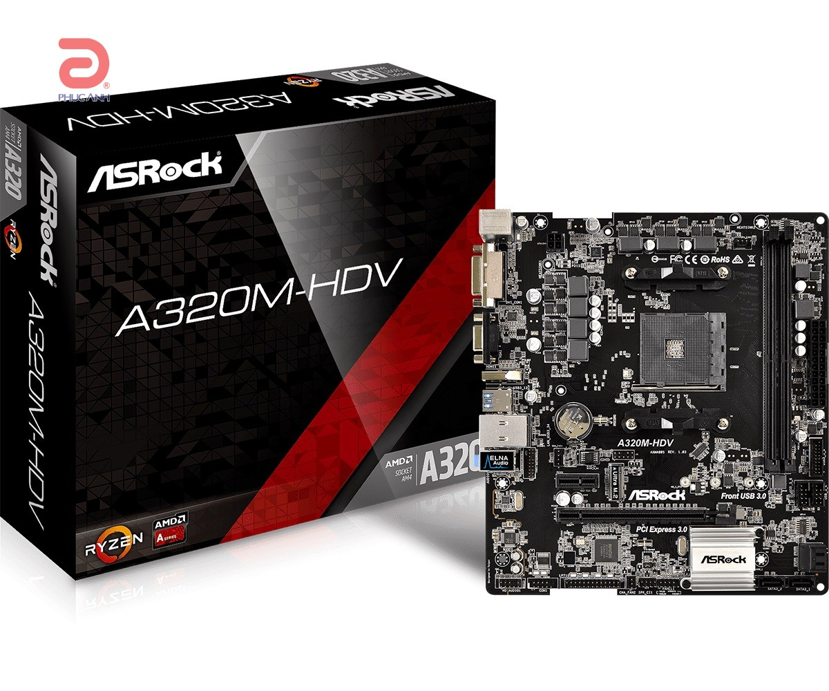Main Asrock A320M-HDV (Chipset AMD A320/ Socket AM4/ VGA onboard)