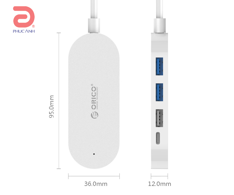 Bộ chia USB 1 ra 4 Orico HC1 USB3.0 & Type C