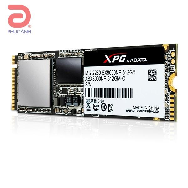 Ổ SSD SSD Adata SX8000 512Gb M2.2280 PCIE (đọc: 2500MB/s /ghi: 1100MB/s)