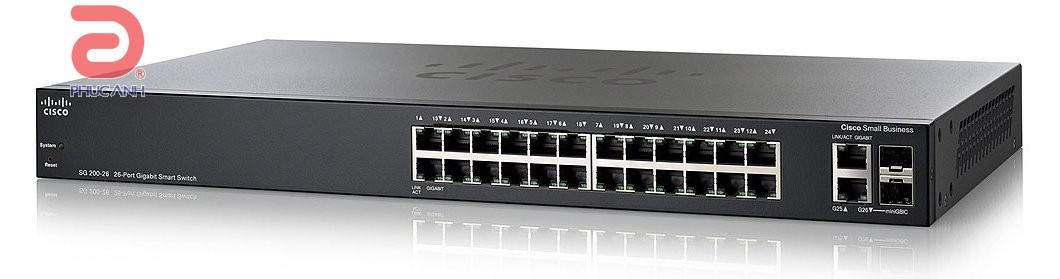 Thiết bị chia mạng Cisco SLM2024T-EU SG200-26 - Switch thông minh, Cổng quang