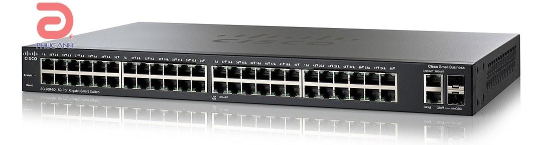 Thiết bị chia mạng Cisco SLM2048T-EU SG200-50 - Switch thông minh, Cổng quang