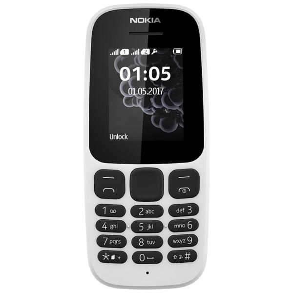 Nokia N105 Dual Sim 2017 (White)- 1.8Inch/ 2 Sim