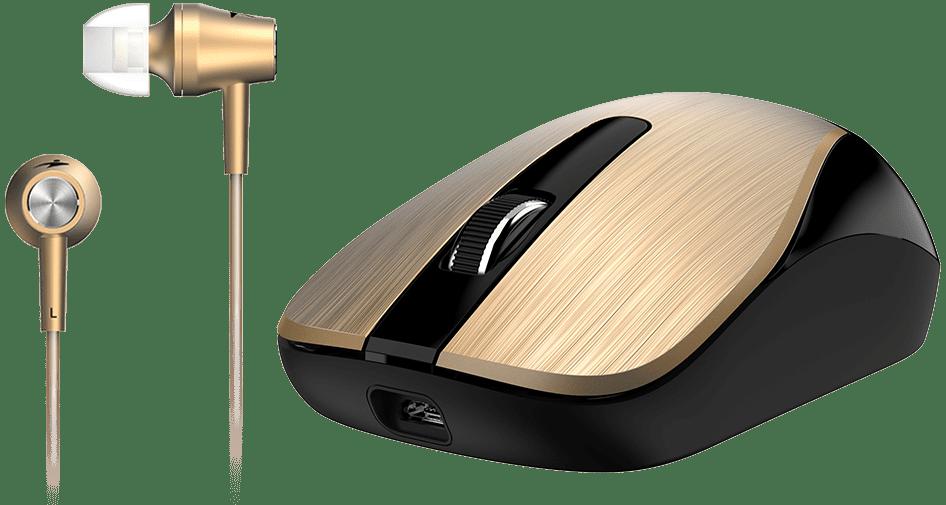 Chuột không dây và tai nghe Genius MH-8015 (Vàng Gold)