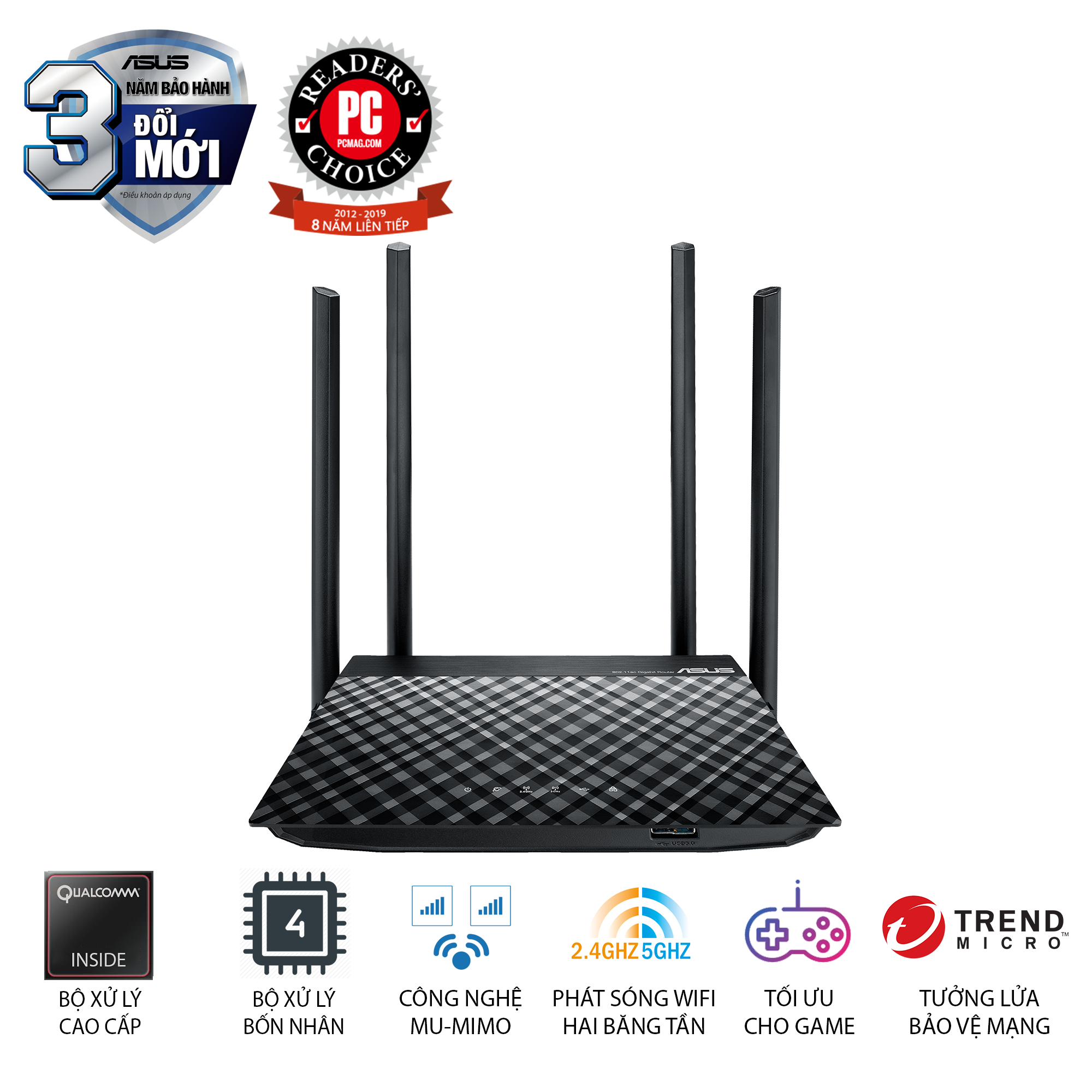 Bộ phát wifi Asus RT-AC1300UHP AC1300Mbps