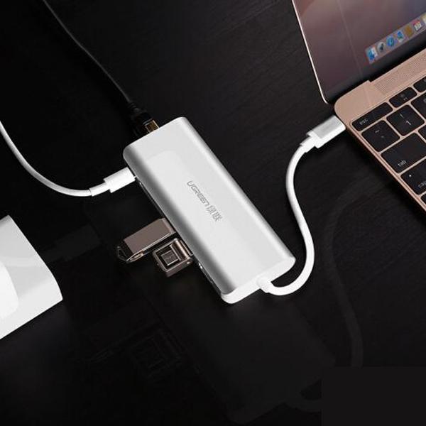 Bộ chuyển đổi Ugreen 50516 USB Type-C sang HDMI, Lan, USB 3.0, SD/TF, sạc Type-C