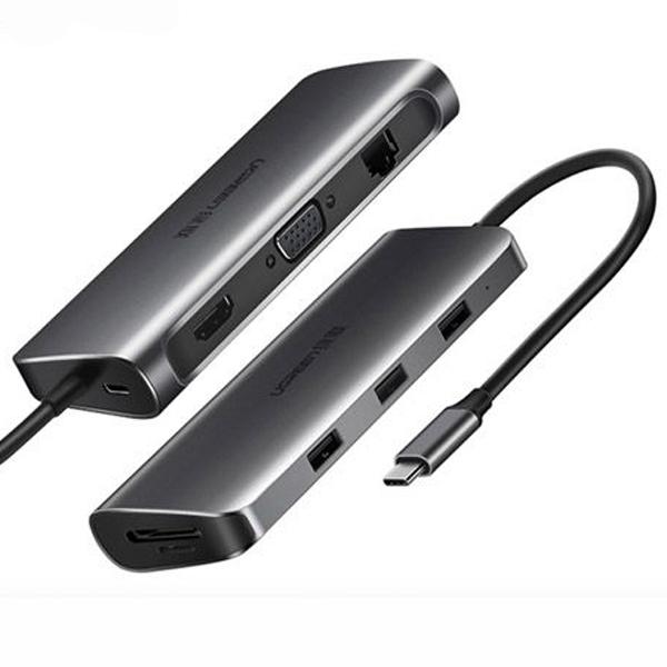 Bộ chuyển đổi Ugreen 40873 USB Type-C sang HDMI, VGA, LAN, USB 3.0, SD, USB-C