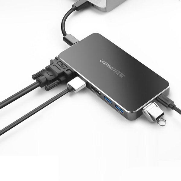 Bộ chuyển đổi Ugreen 40872 USB Type-C sang HDMI, VGA, Displayport, Hub USB 3.0, USB-C