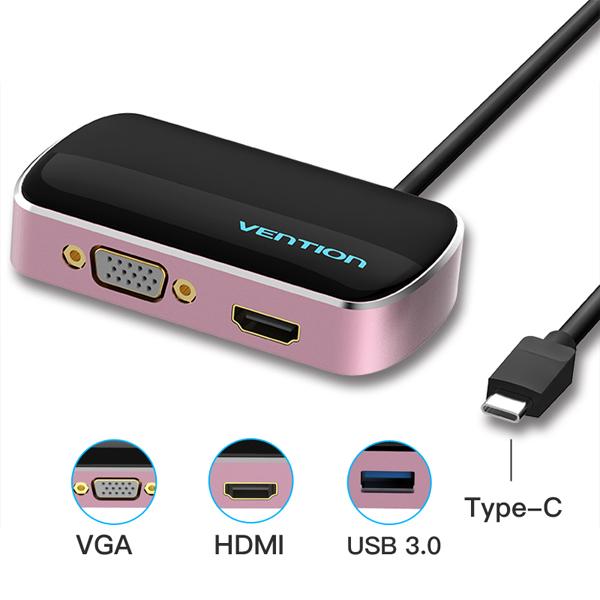 Bộ chuyển đổi Vention USB -C (TypeC 3.1) sang HDMI/VGA/USB (15cm)