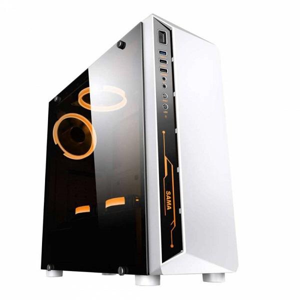 Vỏ máy tính Sama CANTY III WHITE Fan RGB  (  ATX, MicroATX, Mini-ITX)