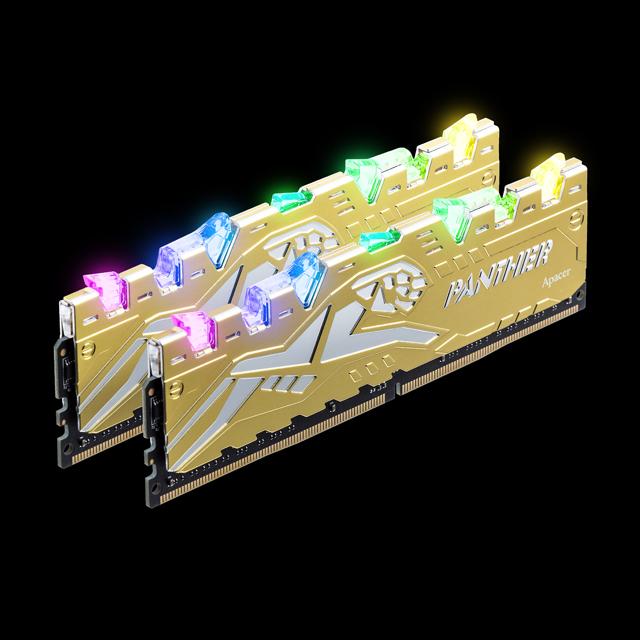 RAM (kit) Apacer Panther Rage RGB DDR4 (2x8) 16Gb 3200 Silver-Golden