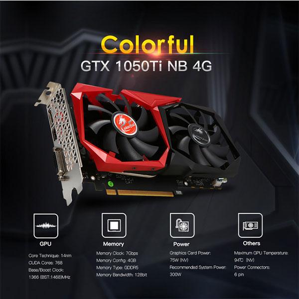 Kết quả hình ảnh cho VGa colorful GTX1050Ti 4GB NB