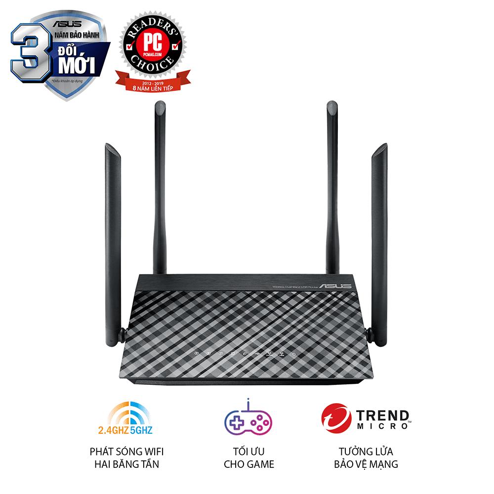 Bộ thu phát Asus RT-AC1200 AC1200Mbps 20 User