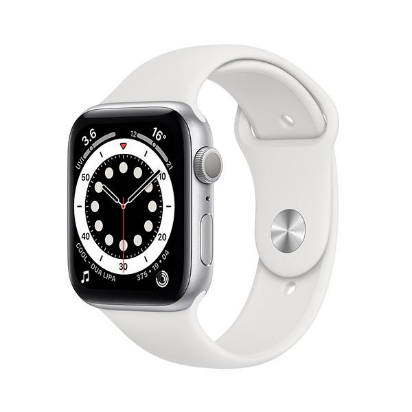 Đồng hồ thông minh Apple Watch Series 6 44mm (GPS) Viền Nhôm Bạc - Dây Cao Su Trắng